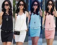 Free Shipping 2014 New Summer Women Sexy OL Commuter Fold Package Hip Collar Knit Cotton Sleeveless Vest Chiffon Dress