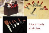 free shipping!15pcs Tools Set  1/12 Dollhouse Miniature pliers scissor hammer  shovel saw with box mini  Toys Dolls Accessories