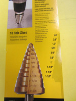 "Ti Titanium Coated British Stepped Step Core Drill Bit 1/4""-1-3/8"" 10 Hole Sizes Reamer Counterbore Works In wood Plastic Metal"