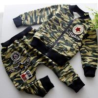 NEW 2014 Children Korean boy camouflage zipper jacket kids clothes set for 2-7ages
