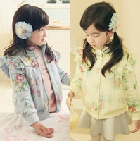 2014 New Autumn Fashion Girls Coats and Jackets Children's Coats Kids Clothes Little Girl Flowers and Lace design frozen coat