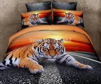 New Beautiful 4PC 100% Cotton Comforter Duvet Doona Cover Sets FULL / QUEEN / KING SIZE bedding set 4pc nice animal orange tiger