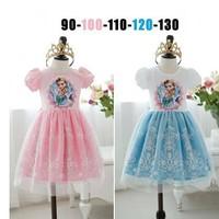 BB055 Free shipping 2014 baby girls forzen short sleeve princess dress beautiful lace baby chiffon dress kids party dress retail