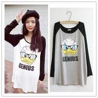 Autumn Fashion Women Cotton Loose T shirt  Long Sleeve T shirts Brand Donald Duck Print  Women Tee shirt Tops & Tees      #C0878