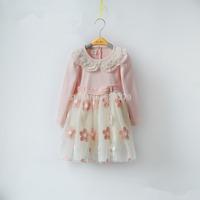 2014 Fashion Baby Girls Dresses Rose Children Pink Lace Flower Dress Princess Kids Dress Girls Clothes vestidos de menina