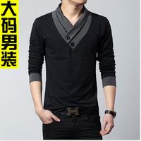 Supersize men's long sleeve T-shirt fertilizer plus-size show thin v-neck shirt