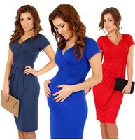 free shipping 2014 Lady Hot V-neck Pregnant Women Summer High Waist  Dress size s -  xl