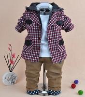 2014 new boys plaid blazer+shirt+pant clothing sets 3pcs kids clothes sets baby boy hoodie set boy children clothing