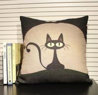 2014 Hot 45cm*45cm Cotton Linen Black Cat Decorative Pillow Case Cartoon Pillow Cover Cushion Case