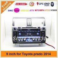 9inch 3G WIFI TOYOTA Prado 150 Land Cruiser 2014 Radio tape recorder with GPS DVD player Audio Stereo Free map