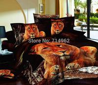 New Beautiful 4PC 100% Cotton Comforter Duvet Doona Cover Sets FULL / QUEEN / KING SIZE bedding set 4pc nice animal golden lion