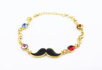 Mix Lot 12pcs/lot DS032 Trendy Jewelry 2014 Mustache Charm Bracelets Hand Made Chain Link Bracelets Wholesale Accessories