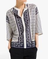 ST1930 New Fashion Ladies' vintage blue porcelain print blouse V neck three quarter sleeve shirt casual slim brand designer tops