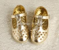 wholesale girls shoes Korean style children's leather shoes rivet princess shoes golden  silver shoes cow muscle sole flat heel
