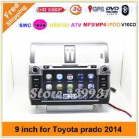 3G WIFI TOYOTA Prado 150 Land Cruiser  2014 GPS Navigation DVD player with Audio Radio Stereo Steering wheel control free map