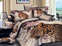 New Beautiful 4PC 100% Cotton Comforter Duvet Doona Cover Sets FULL / QUEEN / KING SIZE bedding set 4pc nice animal leopard --