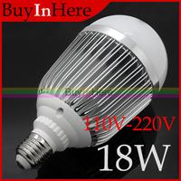 Energy-saving 18W E27 Warm/Cool White High Power 18*1W LED Ball Bulb Globe Aluminum alloy Light Lamp 110v-220v