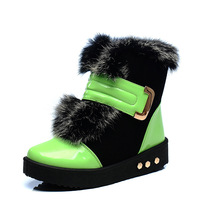Fox wool Keep warm in thickening antiskid cone female cotton cotton shoes boots night market,waterproof boots cotton shoes women
