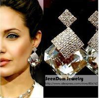 SeenDom Brand Star Style Rhinestone Brincos Women Crystal Drop Earrings Wedding Dress Jewelry SCE005