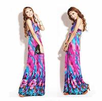 Long Flower Printed Maxi Dress For Women Summer Sleeveless Halter Beach Casual Bohemian Color Desigual Clothing Purple