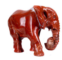 red Jasper green jade  Carving elephant animal tiger Africa style Engraving trendy carft high art natura gemstone