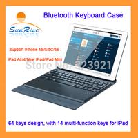 Free shipping wireless bluetooth keyboard case wireless keyboard cover for iPhone 4S/5/5C/5S/ iPad Air/4/New iPad/iPad Mini