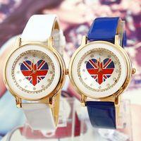 Free Shipping Wholesale Dropship Brilliant Rhinestone Watch Fashion Love Flag Watches Leather Ladies