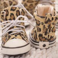 High Quality Pet Dog Cat Leopard Print Canvas Shoes Anti-skid Dog Sport Shoes Footwear Soft Sole Walking Sneaker