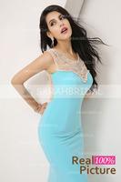 XU004 Chiffon Crystal long evening dresses women 2014 O-Neck Mermaid Party Dress Luxury Chiffon Long Evening Dresses 2014