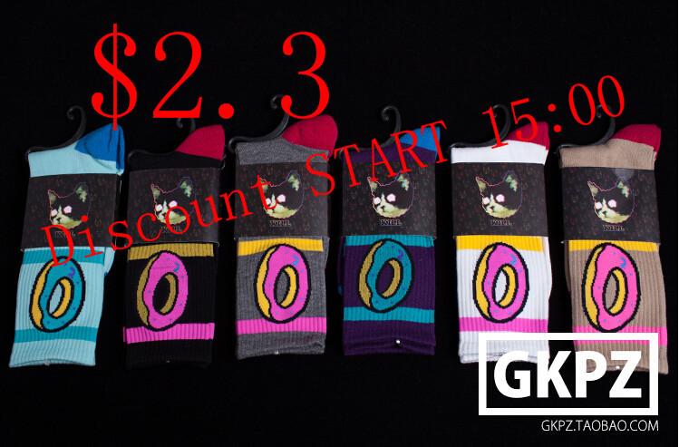 10pieces 5pairs hip hop skateboard odd future donut ofwgkta man men s meias sock(China (Mainland))