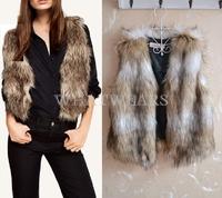 Free Shipping Winter Warm Womens Faux Fur Short Vest Sleeveless Jacket Waistcoat 6 Size 2 Colors [3 70-6212]
