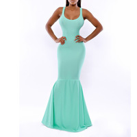 2014 Women Blue Evening Dresses Sexy Dovetail Dress Charming  Maxi Dresses