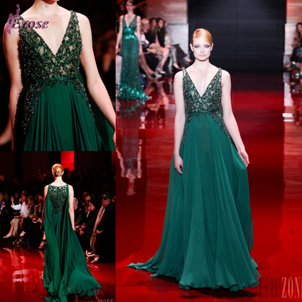 LN-012 Hot Sale New V-neck Beaded Green Chiffon Elie Saab Dress Prices Prom Gown For Sale (Some Country is Free Shipping)(China (Mainland))