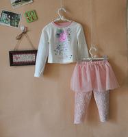 Peppa Pig Baby Girls Sets 3pcs Peppa roupas de bebe Long-sleeve Tshirt + Skirt Legging