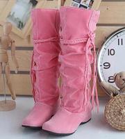 2014 spring autumn new fashion tassel women velvet hidden heels high-leg snow boots straight shoes large plus size 40-43
