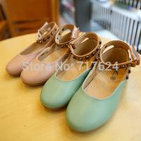 wholesale 2014 autumn new girls children's shoes Velcro  princess  rivets shoes party dance shoes cow muscle sole flat heel