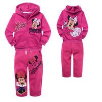 xlbb20 Winter minnie mouse 2-8 age children hoodies + kids pants christmas girls clothing sets free shipping 6pcs/ lot
