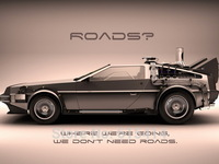 """005 Back to Future - DMC Racing Car Time Travel Classic Hot Movie 32""""x24""""  Poster"""