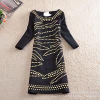 Fashion Europe style Slimming Women Knee-length optical illusion Vintage Sequin rivets 3/4 sleeve Dress Plus Size M-XXL