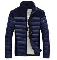 Fashion 2014 Winter Men's Lightweight Padded Warm Business Jackets Man Casual Slim Fit Outdoor Young Men Korean Coat Black Blue