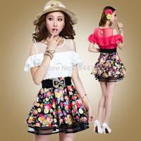 2014Summer women's dress cute sleeveless slim hips girl  casual clothing fashion print desigual lady dress office party dress