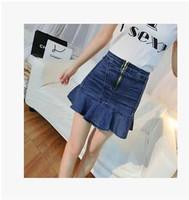 2014 South Korean Female Retro Flounced Denim Skirt  Thin Package Hip  Fishtail Skirt Bust Fashion High Quality Free Shipping