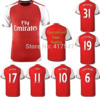 2014/2015 ALEXIS OZIL ROSICKY WILSHERE GIROUD SANOGO ZELALEM home red soccer Jersey,14/15 premier league futbol shirt