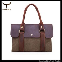 2014New arrival England style men's messenger bags cow genuine+canvas men handbag shoulder bag, high grade bolsa masculina YH100
