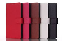 New Arrival 5 colors High Quality Litchi Luxury Genuine Flip leather wallet Case For Sony C3 D2533 D2502  Free ship