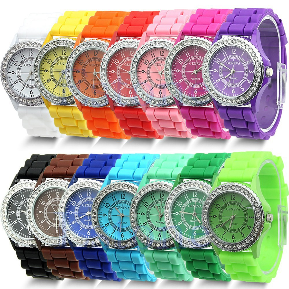8 Colors For Choose Bezel Geneva Fashion Bling Crystal Rhinestone Women Silicone Rubber Jelly Watch(China (Mainland))