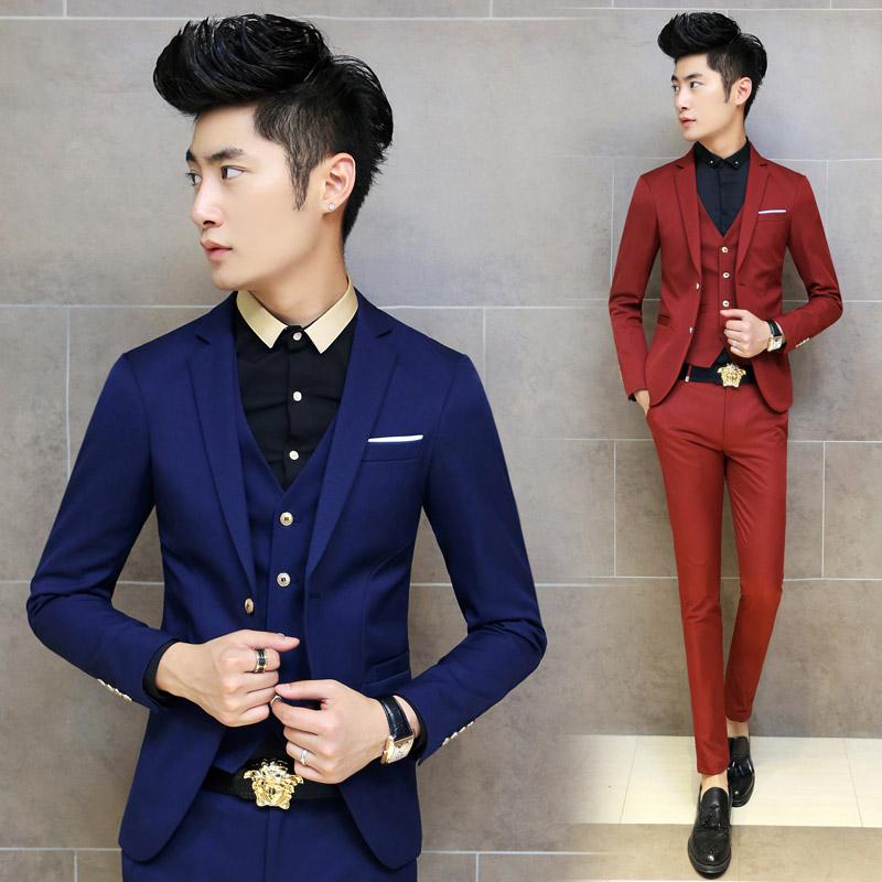 2018 Spring 2015 Fashion Men\'S Tuxedo Slim Fit Custom Korean Suit ...