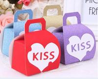 Free Shipping romantic KISS scrub paper  bride groom wedding candy box/DIY Favor Packaging  Box /  chocolate box