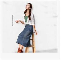 Vintage Denim Skirts Summer Theatrical Female Package Hip Slim Thin Section Long A-Line Skirt Cotton Summer Fashion High Quality