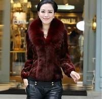 Free shipping 2014 faux fur coat winter new women's coat imitate fox fur collar mink fur coat  lady short  fur coat girl clothes